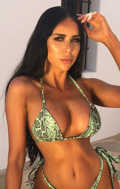 Lime Green Snake Print Multi Way Bikini Top - Alexa