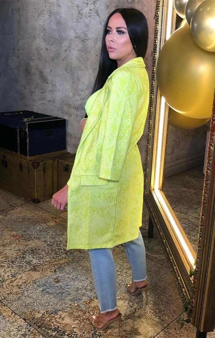 Lime Snake Print Duster Coat - Georgie