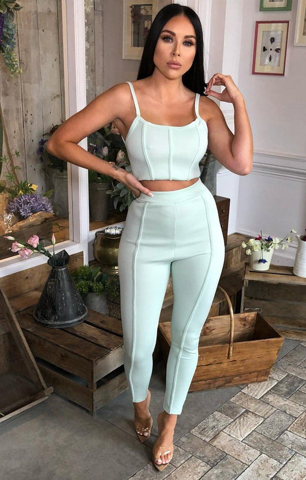 Mint Ribbed Trousers - Demi