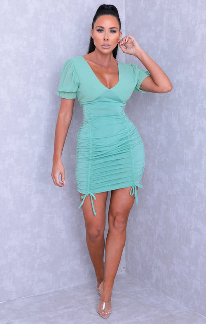 Mint Ruched Side Frill Sleeve Bodycon Mini Dress - Anna