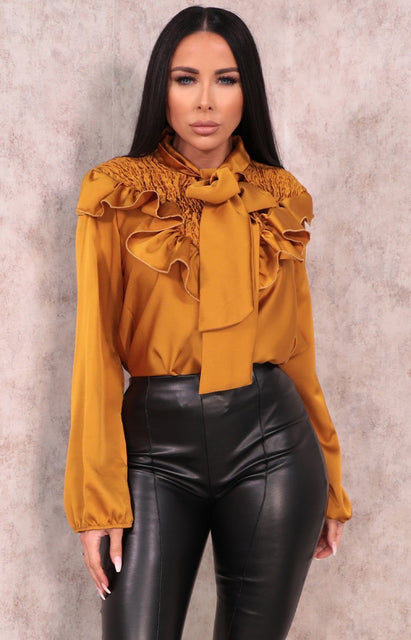 Mustard Satin Shrilled Frill Long Sleeve Top - Zaynab