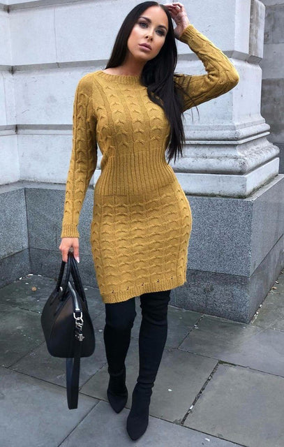 Mustard Cable Knit Jumper Dress - Winter