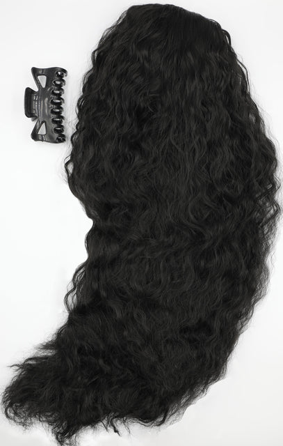 "Natural Black 20"" Synthetic Drawstring And Clip Wavy Ponytail - Demi"