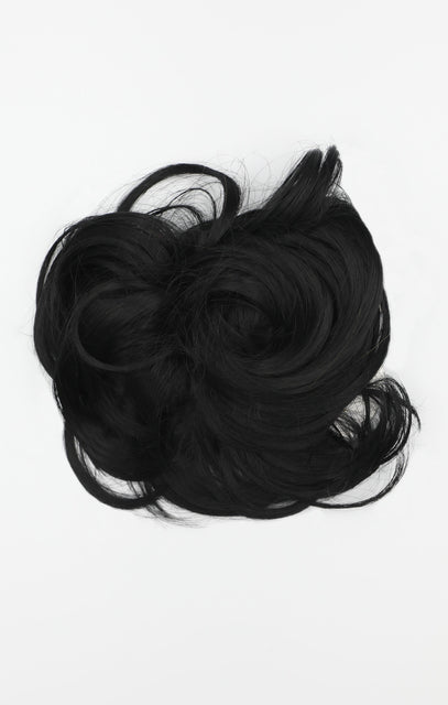 Natural Black Synthetic Drawstring And Clip Wavy Scrunchie - Sophie