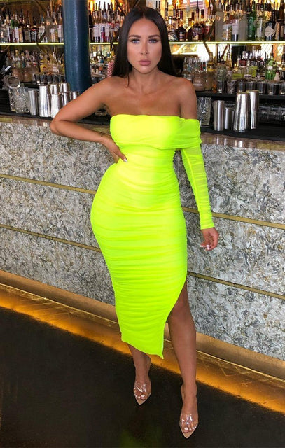 Neon Green Ruffle Side Split Midi Dress - Melisa