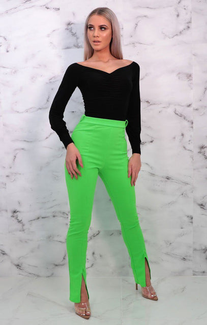 Neon Green Split Front Slim Leg Trousers - Susie