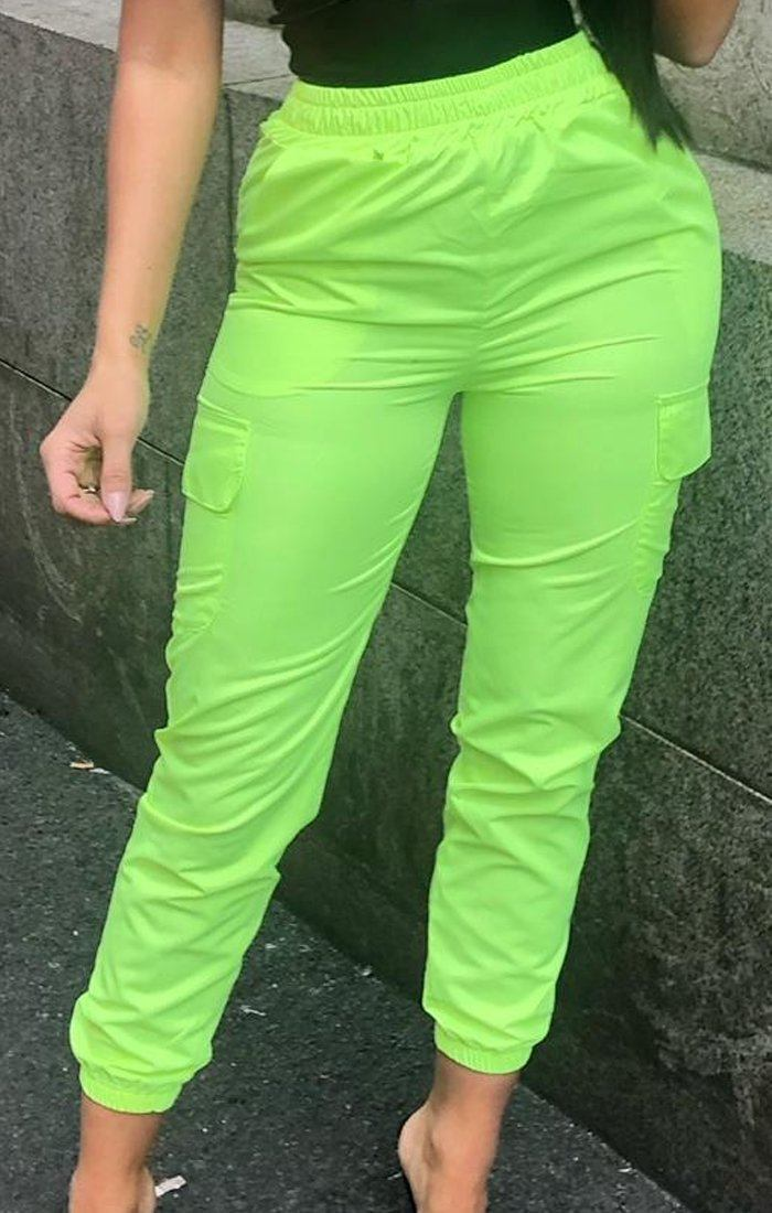 Neon Lime Cargo Trousers - Mina