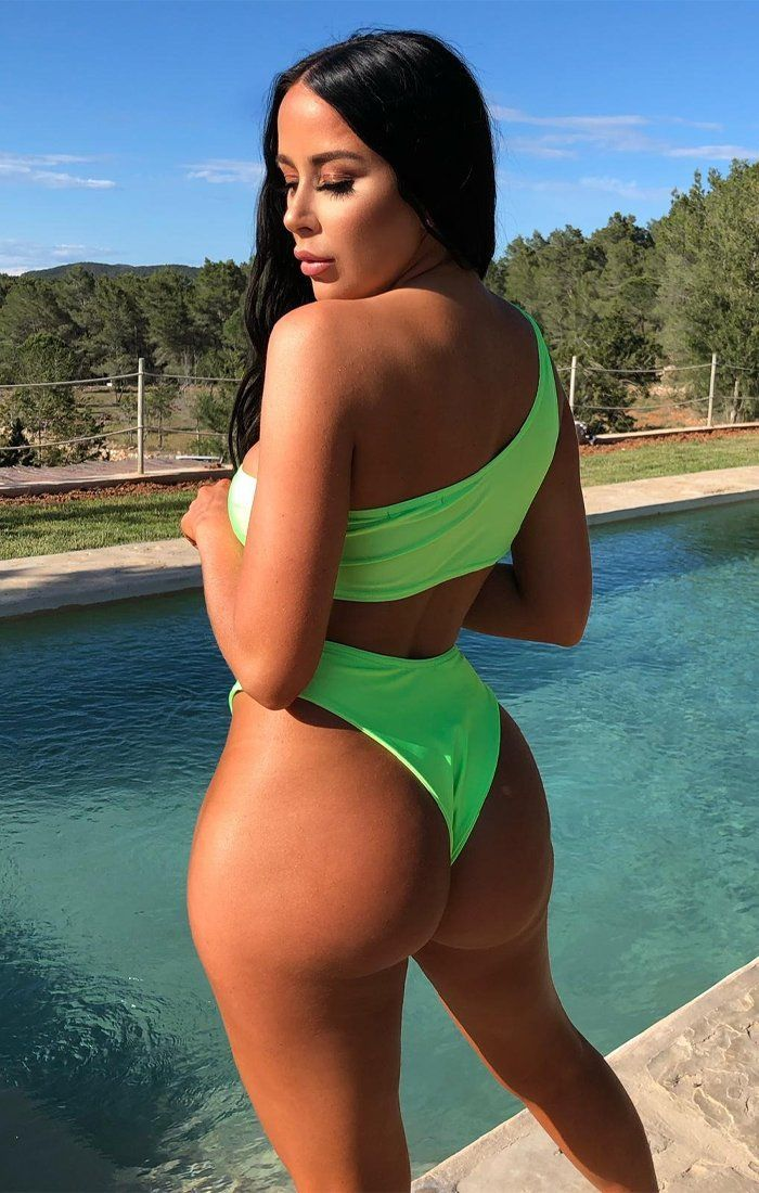 Neon Lime Green High Waisted Bikini Bottoms - Kensley