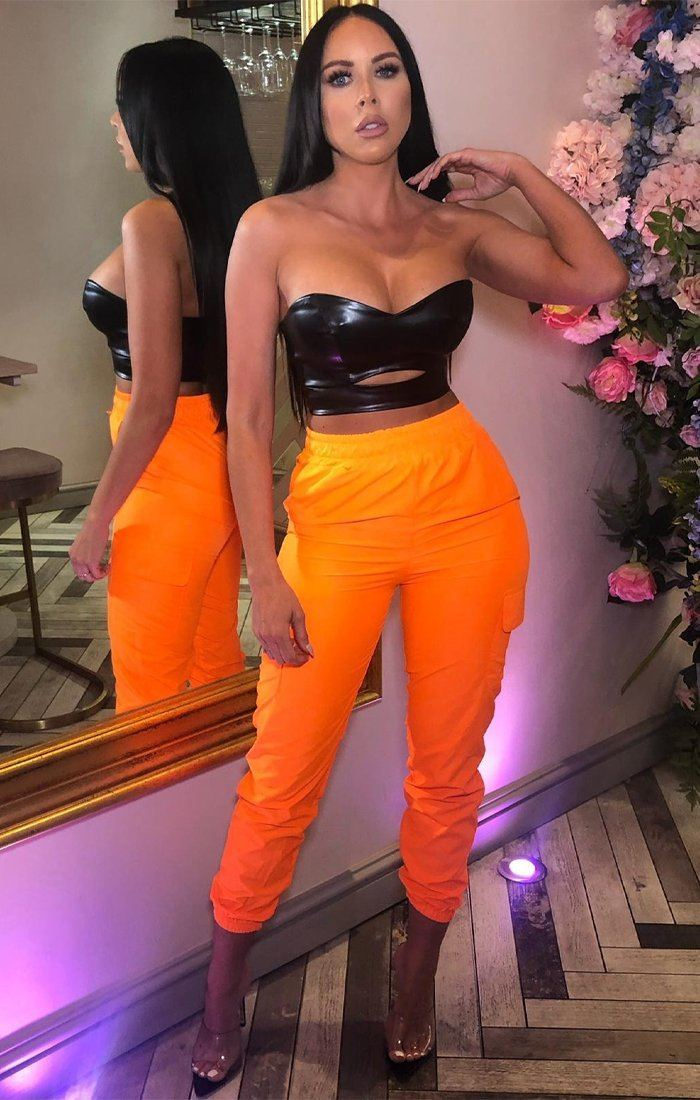 Neon Orange Cargo Trousers - Mina
