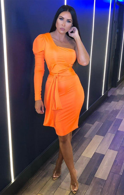Neon Orange One Shoulder Tie Side Mini Dress - Faye