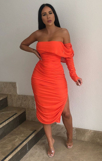 Neon Orange One Sleeve Split Side Bodycon Midi Dress - Luna