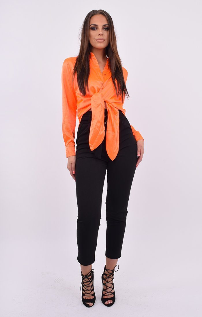 Neon Orange Satin Button Up Tie Front Shirt - Jaymee