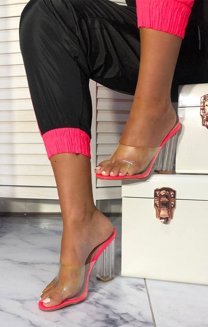 Neon Pink Clear Mules - Robin