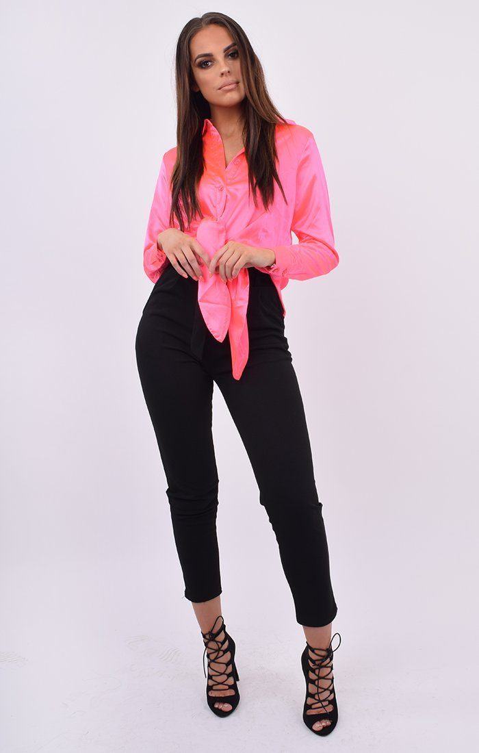 Neon Pink Satin Button Up Tie Front Shirt - Jaymee