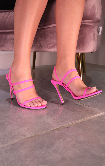 Neon Pink Strappy Heeled Mules - Esme
