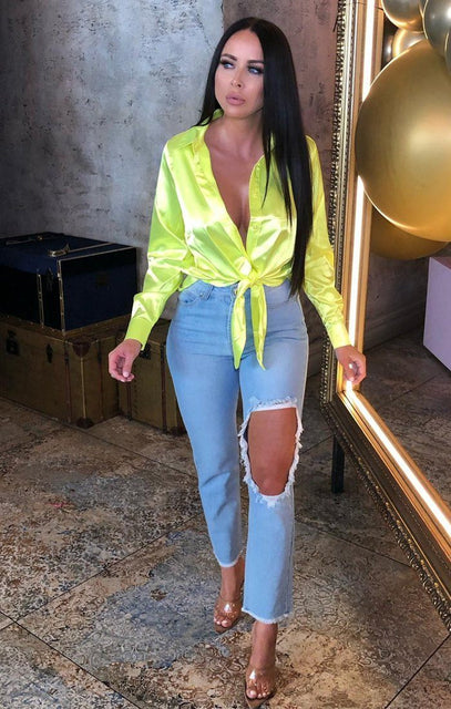 Neon Yellow Satin Button Up Tie Front Shirt - Jaymee