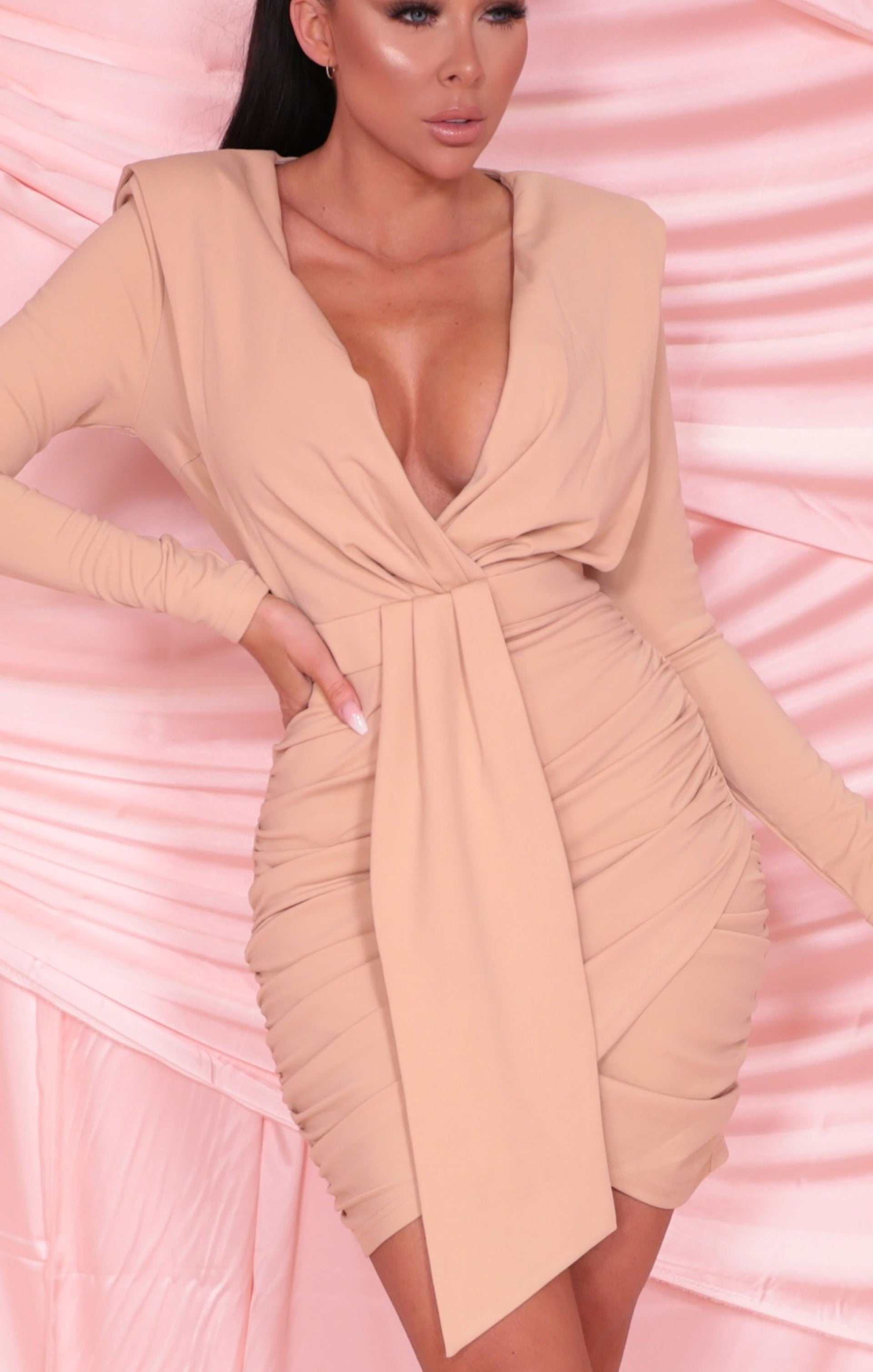 Nude Blazer Ruched Plunge Bodycon Mini Dress - Rita