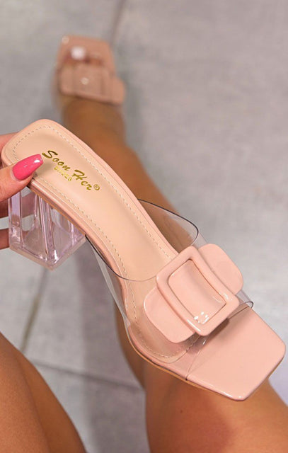 Nude Buckle Front Clear Perspex Mules - Brandon