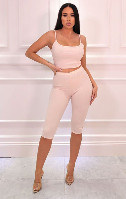 Nude Cropped Cycling Shorts Strappy Top Co-ord - Aofie