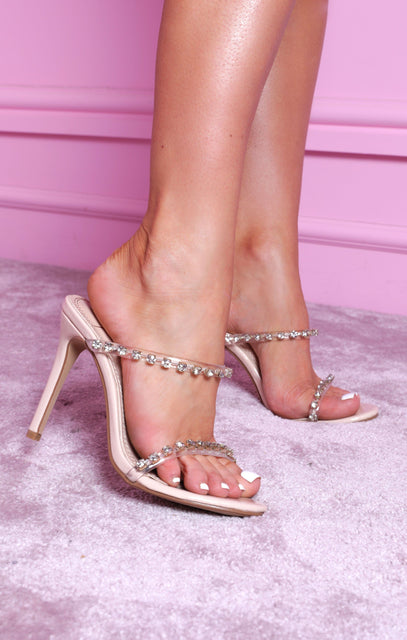 Nude Diamante Jewelled Strap Mules - Katie