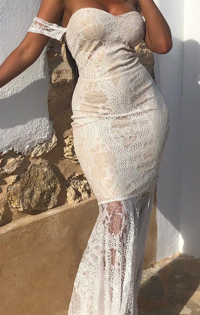Nude Lace Mermaid Maxi Dress - Vickie