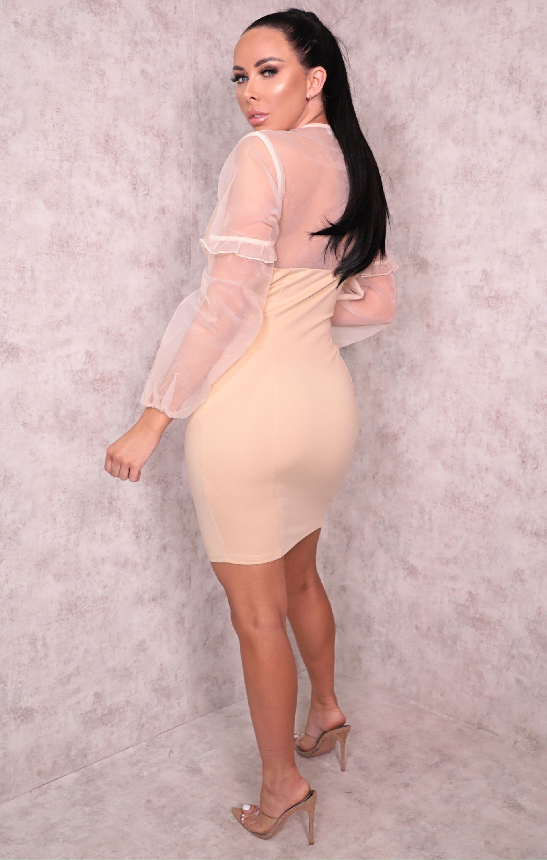 Nude Organza Mesh Sleeve Button Up Bodycon Mini Dress - Mariah