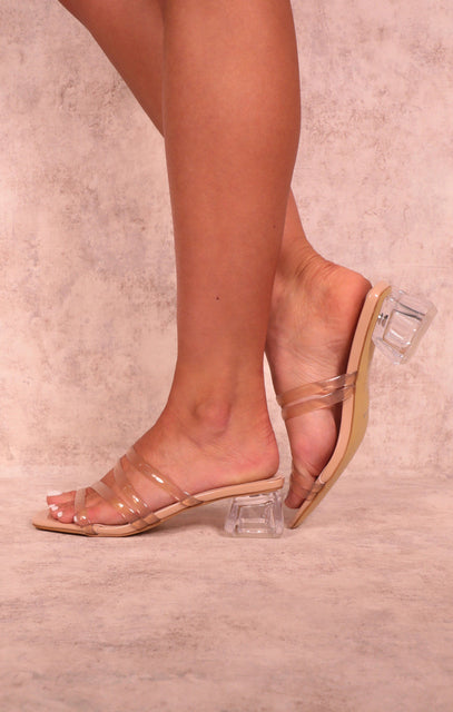 Nude Perspex Low Block Heel Strappy Mules - Lucy