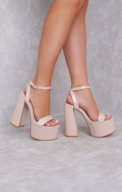 Nude Vinyl Chunky Platform Strappy Heels - Danielle