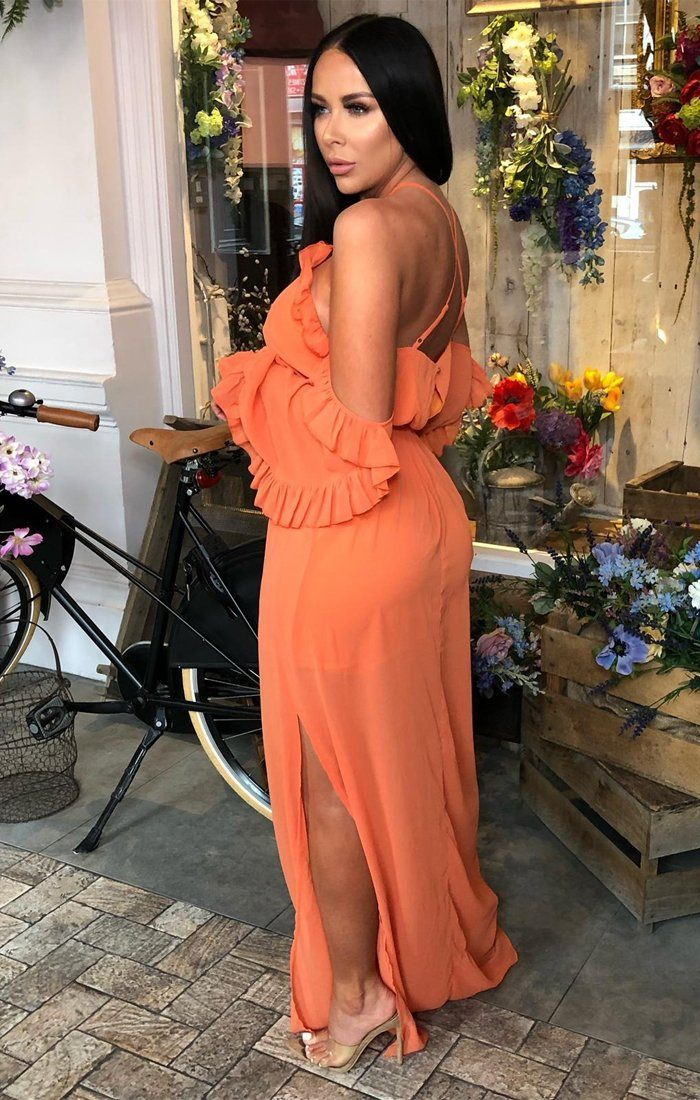 Orange Bardot Ruffle Sleeve Maxi Dress - Abril