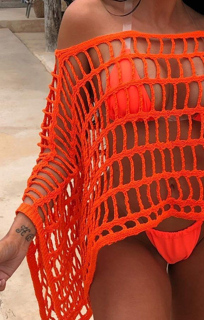 Orange Crochet Poncho - Zuri