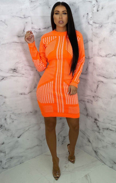 Orange Knitted Stripe Print Bodycon Jumper Mini Dress - Rowan