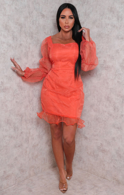 Orange Organza Mesh Overlay Frill Hem Mini Dress - Heather