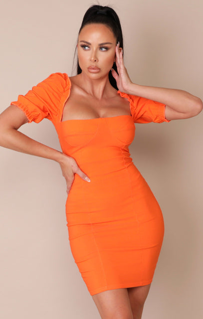 Orange Puff Sleeve Bodycon Mini Dress - Mae