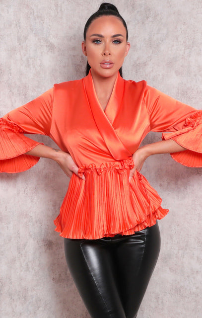 Orange Satin Frill Ruffle Wrap Front Top - Pandora