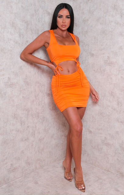 Orange Sleeveless Cut Out Ruched Bodycon Mini Dress - Dara
