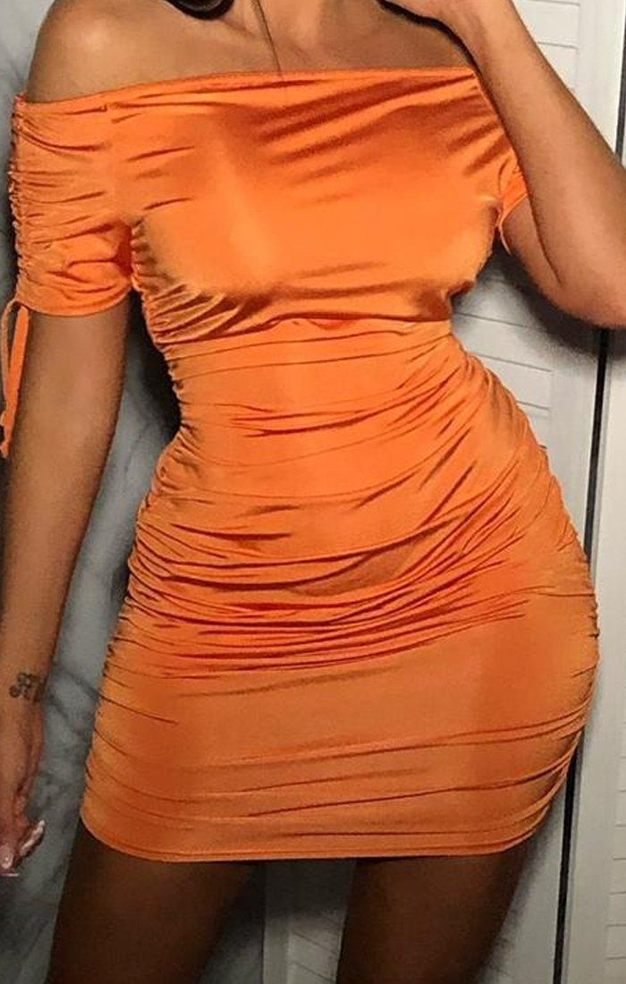 Orange Slinky Bardot Ruched Dress - Kenzee