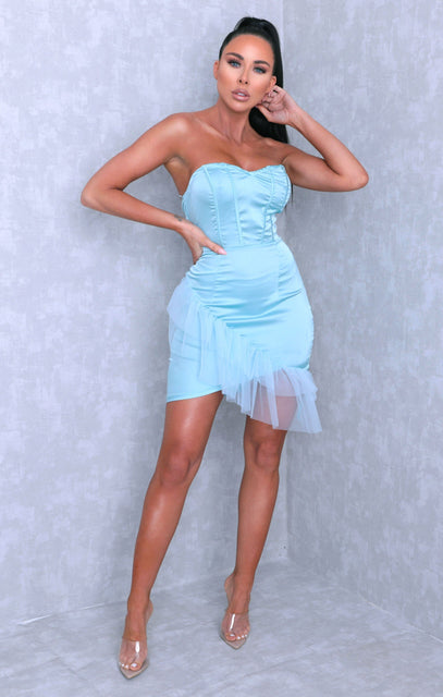 Pale Mint Satin Strapless Tulle Bodycon Mini Dress - Mia