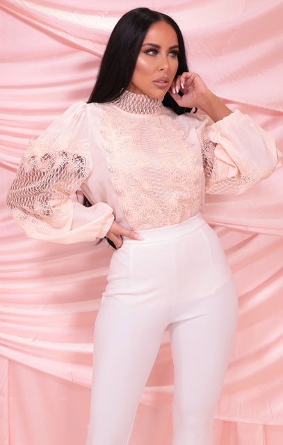 Peach High Neck Lace Crochet Long Sleeve Top - Clancy
