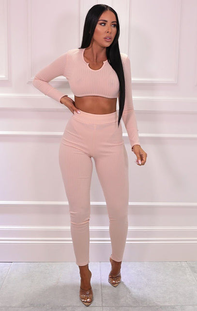 Peach Ribbed Cropped Skinny Leg Loungewear Set - Mila