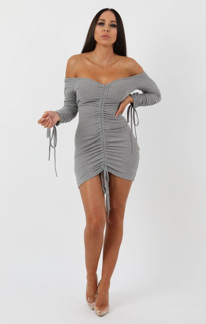 Grey Ribbed Long Sleeve Bardot Ruched Bodycon Dress - Genevieve