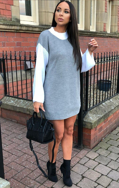 Grey Knit Block Colour Jumper Dress - Ella