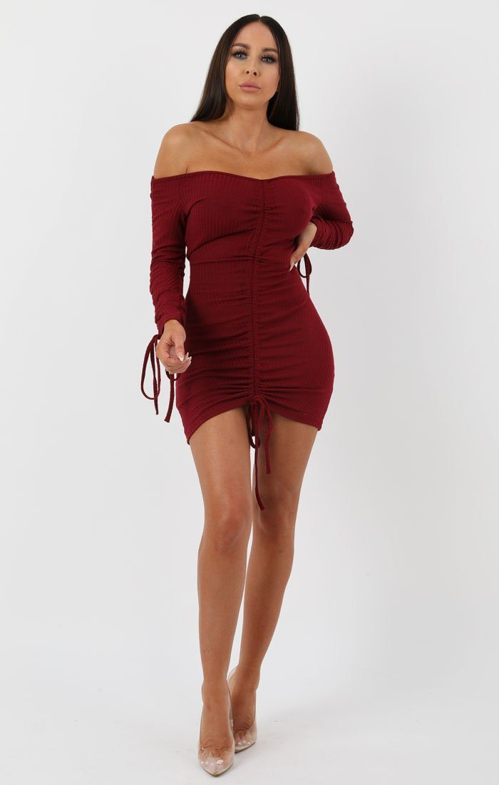 Wine Ribbed Long Sleeve Bardot Ruched Bodycon Dress - Genevieve