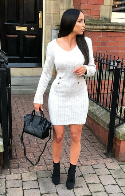 Stone Ribbed Knit Bodycon Dress With Button Detail - Lauryn