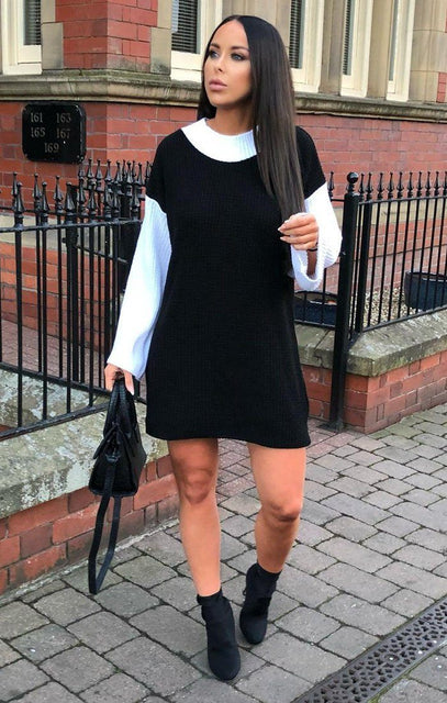 Black Knit Block Colour Jumper Dress - Ella