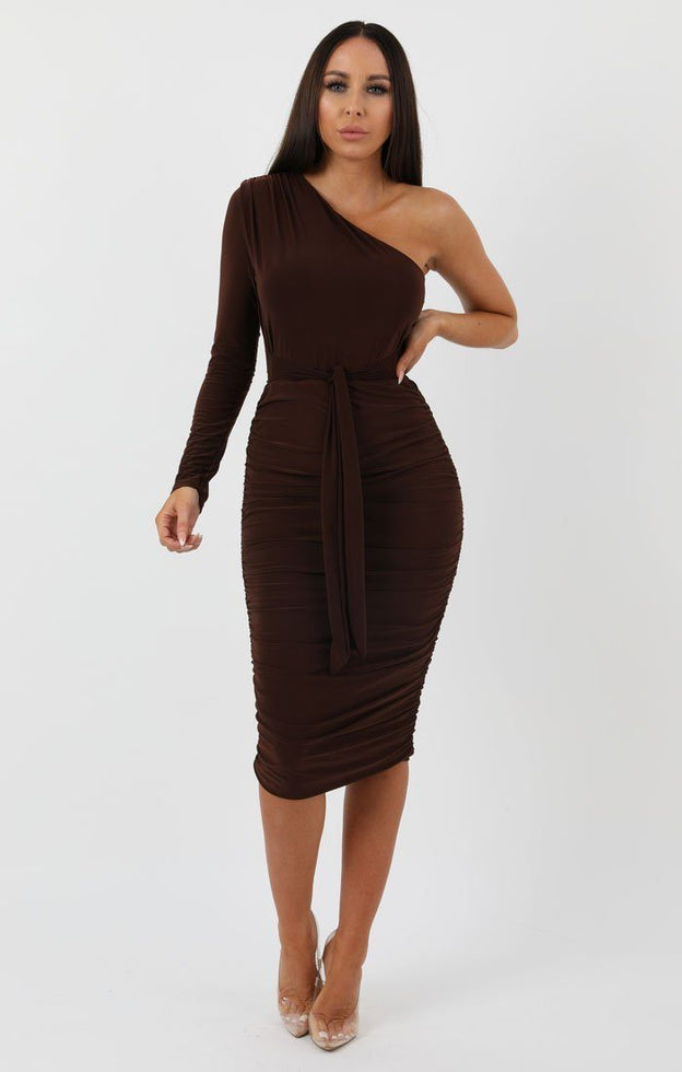 Brown-One-Shoulder-Bodycon-Midi-Dress-Liliana