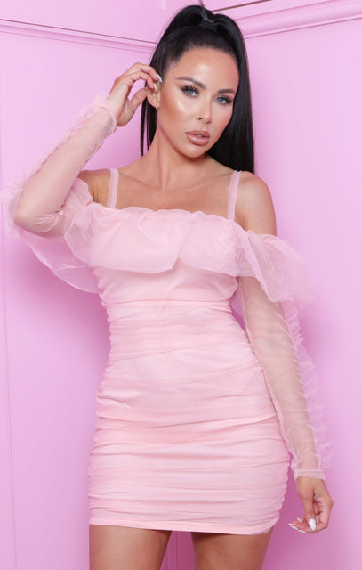 Pink Bardot Ruched Organza Mesh Bodycon Mini Dress - Clara