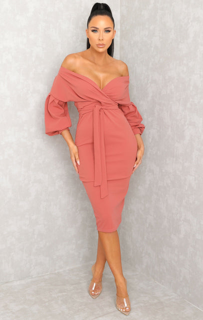 Pink Belted Bodycon Midi Dress - Angelica