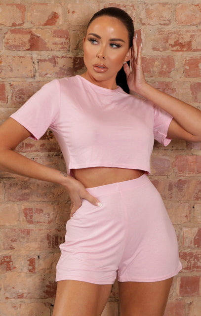 Pink Crop Top & Shorts Co-ord - Martha
