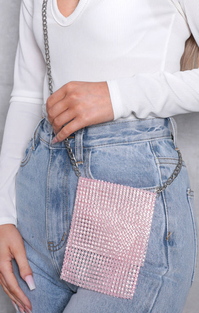 Pink Diamante Gemstone Crossbody Pouch Bag - Jacinda