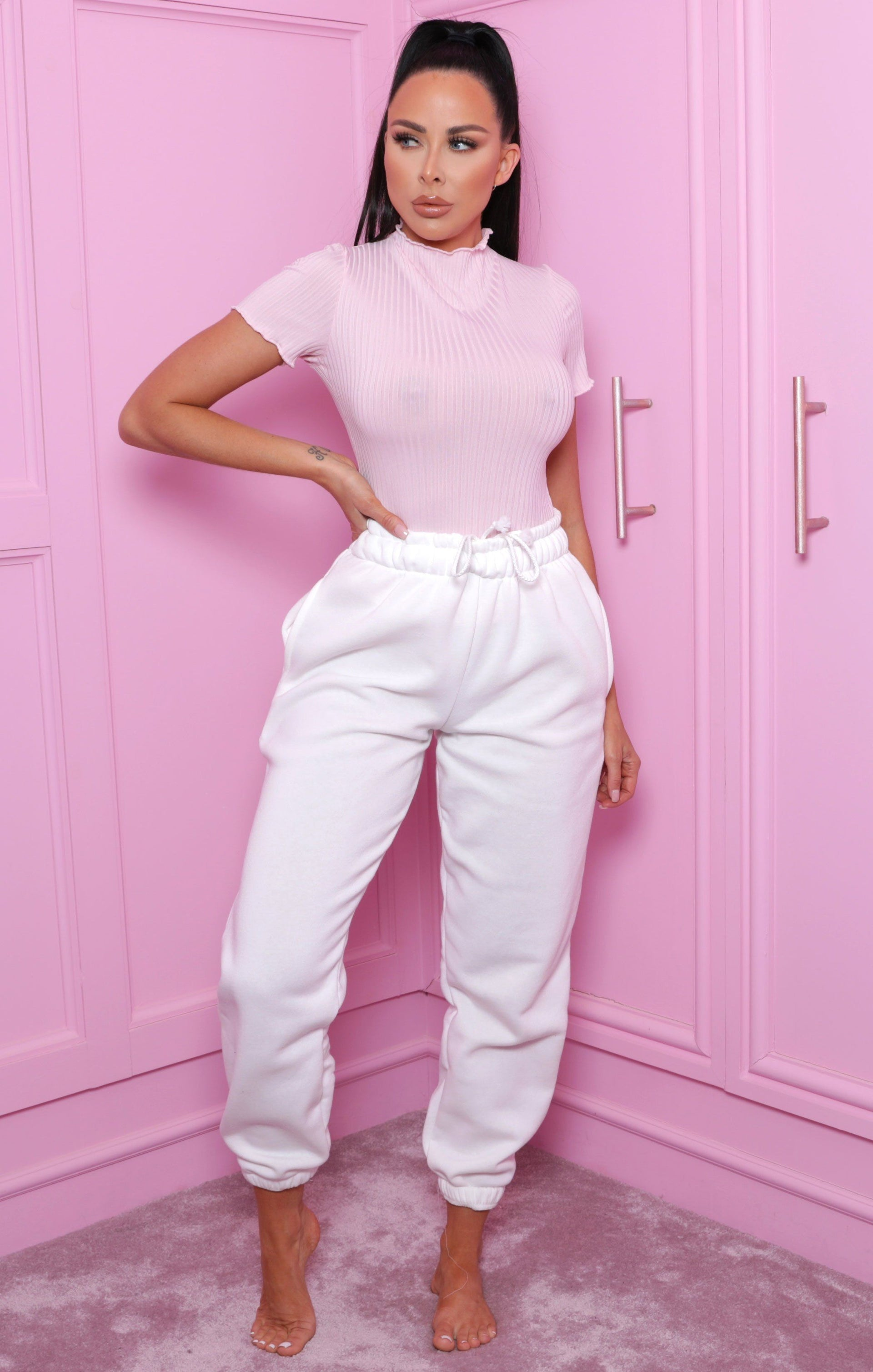 Pink High Neck Ribbed Frill Top - Jaylah